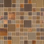 "MS International Metropolitan Blend Pattern Glass Metal Blend Mosaic 12"" x 12"" : SMOT-GLSMT-MB8MM"
