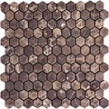 "MS International Emperador Dark Marble Mosaic Hexagon 12"" x 12"" : SMOT-EMP-1HEX"
